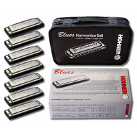 Hohner 7 Pce Blues Harmonica Set in the Keys C, D, E, F, G, A, Ab