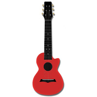 Kealoha Guitalele in Plain Coral Red with Black ABS Resin Body