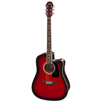 Aria AW-15 Dreadnought AC/EL Guitar with Cutaway in Red Sunburst
