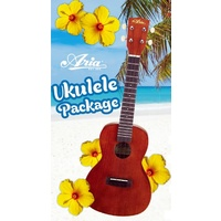 Aria AU-Series Soprano Ukulele Starter Package Includes Uke, Bag, Tuner & Book with CD/DVD