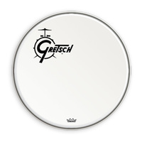 "Gretsch 18"" Bass Drum Head in White with Offset Logo"