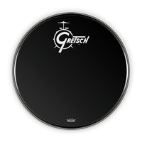 "Gretsch 20"" Bass Drum Head in Black with Centred Logo"