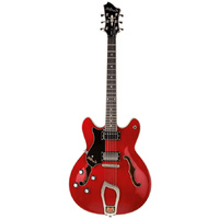 Hagstrom Viking Left Hand Semi-Hollow Guitar in Wild Cherry Transparent Gloss