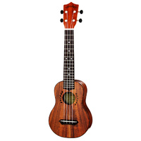Leolani Solid Koa Series Long Neck Soprano Ukulele with Gigbag