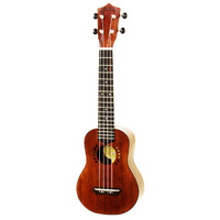 Leolani Solid Mahogany Series Long Neck Soprano Ukulele with Gigbag