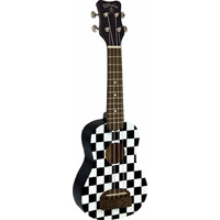 Kohala Tiki Series Soprano Ukulele in Checkerboard with Natural Satin Finish