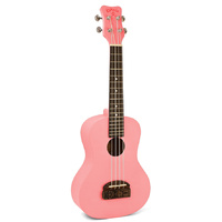 Kohala Tiki Series Soprano Ukulele in Pink with Natural Satin Finish