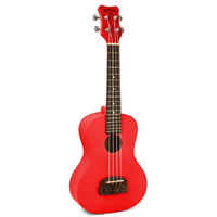 Kohala Tiki Series Soprano Ukulele in Red with Natural Satin Finish