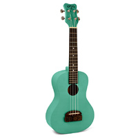 Kohala Tiki Series Soprano Ukulele in Green with Natural Satin Finish
