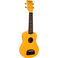 Kohala Tiki Series Soprano Ukulele in Yellow with Natural Satin Finish