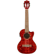 Lanikai Quilted Maple Tenor AC/EL Ukulele in Red Stain Gloss Finish