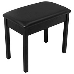 On Stage Keyboard/Piano Bench Flip-Top, Solid Wood & Vinyl in Black