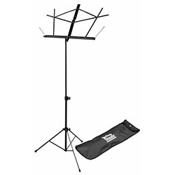 On Stage Compact Sheet Music Stand in Black with Bag
