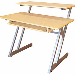 On Stage Wooden Workstation in Maple/Grey Steel Frame