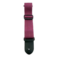 "Perris 2"" Burgundy Cotton Guitar Strap with Leather ends"