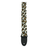 "Perris 2"" Faux Fur Leopard Printed Fabric Sewn On Webbing with Deluxe Leather ends"