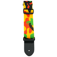 "Perris 2"" Poly Pro ""Multi-Colour Camo"" Guitar Strap with Deluxe Leather ends"