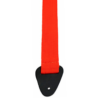 "Perris 2"" Poly Pro Orange Guitar Strap with Leather ends"