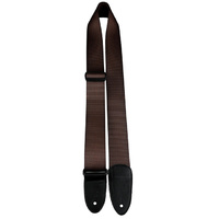 "Perris 2"" Brown Heavy Nylon Guitar Strap with Soft Deluxe Italian Leather ends"