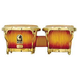 "Toca LE Series 7 & 8-1/2"" Wooden Bongos in Firestorm"