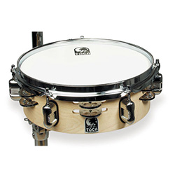 "Toca Jingle Snare 12"" Tambourine with Double Row Nickel Plated jingles & Mount"