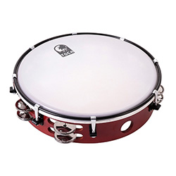 "Toca Tambourine with 10"" Tuneable Head & Double Row Of Nickel Plated Jingles"