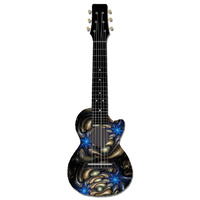 Kealoha Guitalele in Electric Blue Stars Design with Black ABS Resin Body