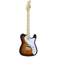 Aria 615-TL Series Semi-Hollow Electric Guitar in 3-Tone Sunburst Gloss