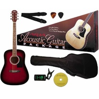 Aria Prodigy Series Acoustic Guitar Package in Red Sunburst
