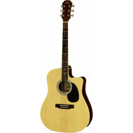 Aria AW-15 Dreadnought AC/EL Guitar with Cutaway in Natural Gloss