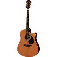 Aria AW-15 Dreadnought AC/EL Guitar with Cutaway in Natural Satin