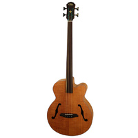 Aria FEB-FL Elecord Series Fretless AC/EL Bass Guitar in Natural Flame