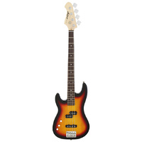 Aria STB-PJ Series Left Handed Electric Bass Guitar in 3-Tone Sunburst