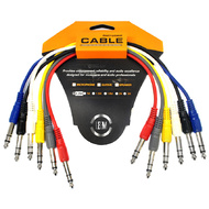 "Leem 1ft Stereo Patch Cables 6pk (1/4"" Stereo Jack Plug  - 1/4"" Stereo Jack Plug )"