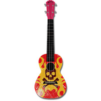 "Kealoha ""Flaming Skull & Bones"" Design Concert Ukulele with Red ABS Resin Body"