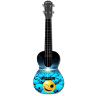 "Kealoha ""Winking Smiley Ball"" Design Concert Ukulele with Black ABS Resin Body"