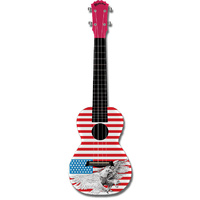 "Kealoha ""American Eagle"" Design Concert Ukulele with Red ABS Resin Body"