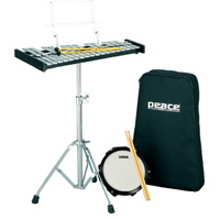 Peace Bell Kit with 30-Note Glockenspiel, Stand, Mallets, Sticks, Practice Pad & Carrybag