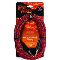 Hot Wires Braided Instrument Cable, QTR-QTR, 20ft