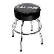 NU-X Branded Bar Stool in Chrome with Black Padded Top