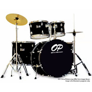 Opus Percussion 5-Piece Rock Drum Kit in Black