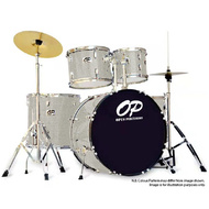 Opus Percussion 6-Piece Rock Drum Kit in Silver Sparkle