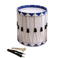 Opus Percussion Samba Drum in White & Blue with Carry Strap & Beaters (35cm x 43cm)