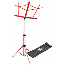 On Stage Compact Sheet Music Stand in Red with Bag