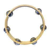 "Percussion Plus 9"" Wooden Tambourine with 6-Double Rows of Jingles"
