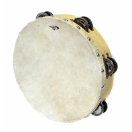 "Percussion Plus 9"" Wooden Tambourine with Head & 6-Double Rows of Jingles"
