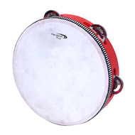 "Percussion Plus 8"" Wooden Tambourine with Head & 5-Single Rows of Jingles"