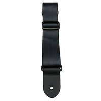 "Perris 2"" Black Seatbelt Style Guitar Strap with Leather ends"