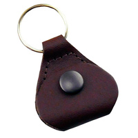 Perris Guitar Pick Holder Key Chain in Brown Leather