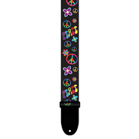 "Perris 2"" Hippy Collection Peace Guitar Strap with Black Leather ends"